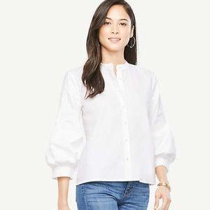 Ann Taylor Poplin Puff Sleeve Shirt
